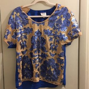 Sequined Blue and Gold Silk shirt